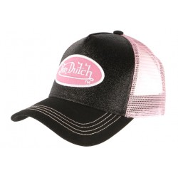 Casquette Von Dutch Noire et Rose Strass Baseball Fashion Flakes CASQUETTES VON DUTCH