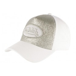Casquette Von Dutch Blanche et Argent Strass Baseball Fashion Flakes CASQUETTES VON DUTCH