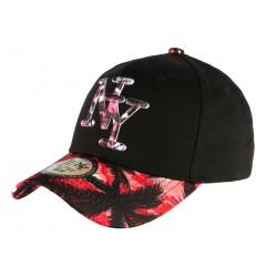 Casquette Enfant Noire et Rouge Fashion Hawai Baseball NY de 7 à 12 ans Casquette Enfant Hip Hop Honour