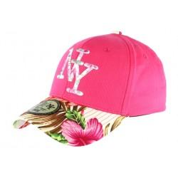 Casquette NY Rose et Beige Fleurs Gili Baseball Fashion Tropic CASQUETTES Hip Hop Honour