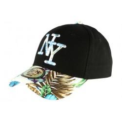 Casquette NY Bleue et Noire Fleurs Gili Baseball Fashion Tropic CASQUETTES Hip Hop Honour