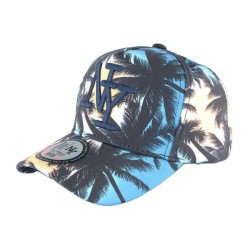 Casquette NY Bleue et Beige Baseball Fashion Tropical Night CASQUETTES Hip Hop Honour
