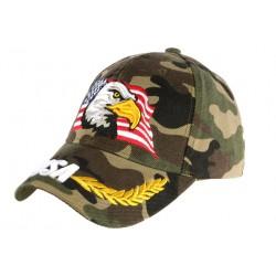 Casquette Aigle Camouflage Armee USA et Lauriers Dores Biker CASQUETTES Nyls Création