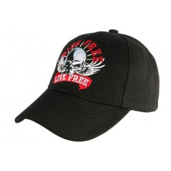 Casquette Biker noire Live Free Ride Free Baseball Motard CASQUETTES Nyls Création