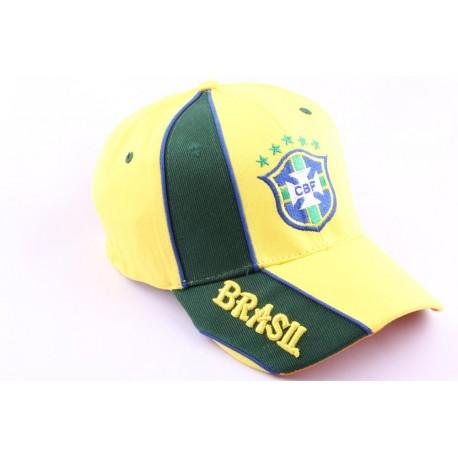 Casquette Strapback Equipe Football Brésil Jaune et Verte