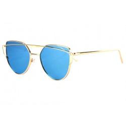 Lunettes soleil miroir Bleu et Doré Design Oeil de Chat LUNETTES SOLEIL Eye Wear