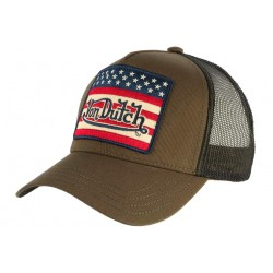 Casquette Von Dutch Kaki Drapeau USA Trucker Baseball Flag CASQUETTES VON DUTCH