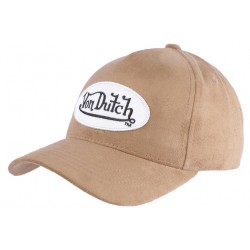 Casquette Baseball Von Dutch marron clair Suede CASQUETTES VON DUTCH