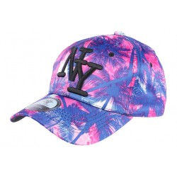 Casquette NY Rose et Bleu Fashion Palmier Tropical Baseball CASQUETTES Hip Hop Honour
