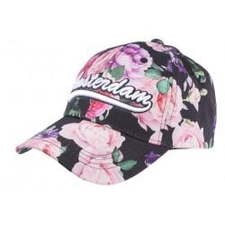 Casquette Amsterdam Noire Rose Fleurs Fashion Baseball Bora CASQUETTES Hip Hop Honour