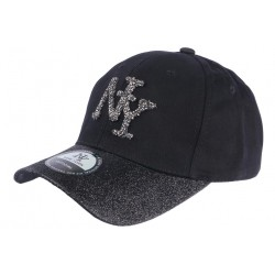 Casquette NY Femme Strass Noir Baseball Black Starly CASQUETTES Hip Hop Honour