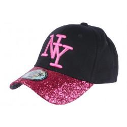Casquette Baseball Femme Strass Rouge Baseball NY Noire Etoyl CASQUETTES Hip Hop Honour