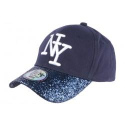 Casquette Baseball Femme Strass Bleu Baseball NY Marine Etoyl CASQUETTES Hip Hop Honour