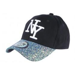 Casquette Baseball Femme Strass Turquoise Baseball NY Noir Etoyl CASQUETTES Hip Hop Honour
