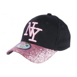 Casquette Baseball Femme Strass Rose Baseball NY Noire Etoyl CASQUETTES Hip Hop Honour