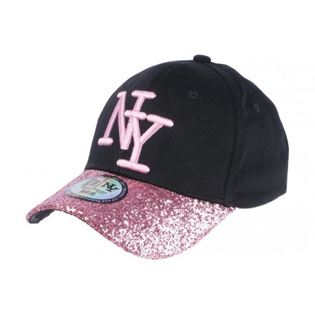 casquette ny femme noir et rose