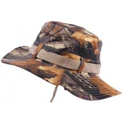 Chapeau Bob Chasse Marron Camouflage avec Lien et Protege Nuque Bob Safari Nyls Création