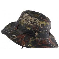Chapeau Bob Chasse Kaki Vert Camouflage avec Lien et Protege Nuque Bob Safari Nyls Création