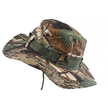 Chapeau Bob Chasse Vert et Marron Camouflage avec Lien et Protege Nuque Bob Safari Nyls Création