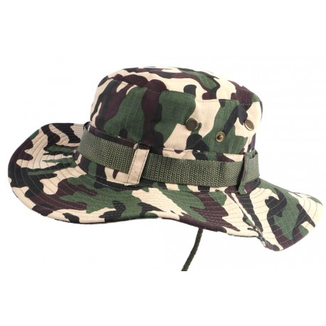 Chapeau Bob safari Marron et Vert Camouflage Lien Serrage et Protege Nuque Bob Safari Nyls Création