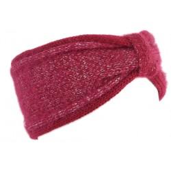 Bandeau Laine Femme Rouge et Argent Fashion Headband Hiver Talya Bandeau Léon montane