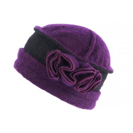 Bonnet Toque Laine Violet Noir Beret Femme Vintage Beleo CHAPEAUX Léon montane