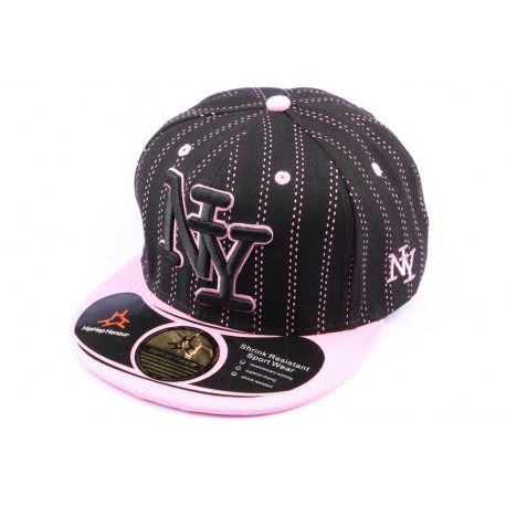 Casquette Snapback NY Noire Couture Rose