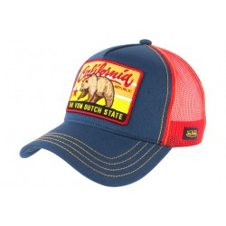 Casquette Von Dutch Bleu California State Ours Baseball Trucker Rouge CASQUETTES VON DUTCH