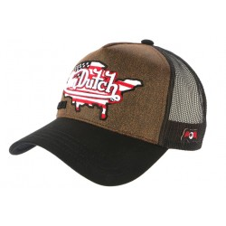 Casquette Von Dutch Cuir Marron USA Country Map Fashion Trucker Baseball CASQUETTES VON DUTCH