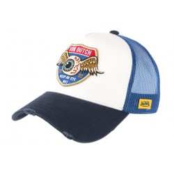 Casquette Von Dutch Blanche et Bleue Oeil Ailé Eye Out Trucker Baseball CASQUETTES VON DUTCH