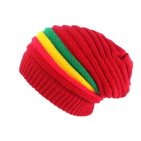 Bonnet Rasta Rouge Hiver Esprit Jamaïque Fashion Wesh en Laine BONNETS Nyls Création