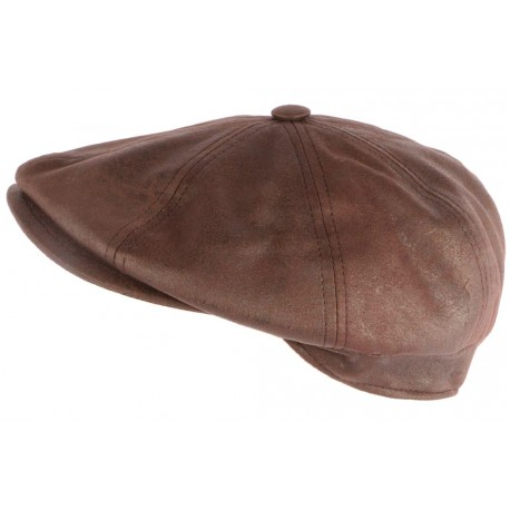 Casquette Gavroche Cuir Marron Suedine Kaster Creation Francaise ANCIENNES COLLECTIONS divers