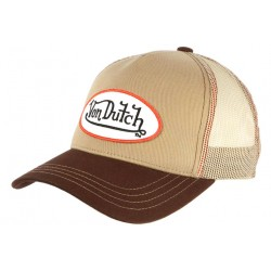 Casquette Von Dutch Marron et Beige Colors Filet Baseball Tendance CASQUETTES VON DUTCH