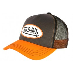 Casquette Von Dutch Grise Visiere Orange Colors Baseball Filet Fashion CASQUETTES VON DUTCH