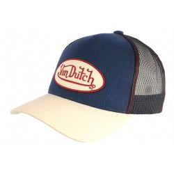 Casquette Von Dutch Bleue Visiere Beige Colors Baseball Trucker CASQUETTES VON DUTCH