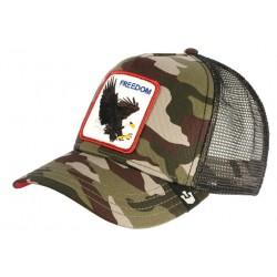 Casquette Goorin Freedom Camouflage Vert Aigle USA Baseball Armee CASQUETTES GOORIN BROS