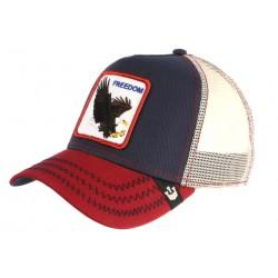 Casquette Goorin Freedom Bleu et Rouge Aigle USA Baseball Tendance CASQUETTES GOORIN BROS