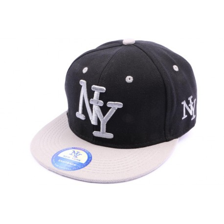 Casquette Snapback NY noir visière grise