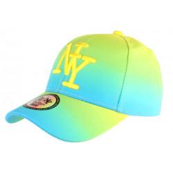 Casquette NY Fluo Bleu Turquoise et Jaune Flashion Baseball Renbo CASQUETTES Hip Hop Honour