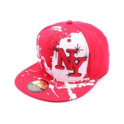 Snapback NY Rouge et blanche façon Tag CASQUETTES Hip Hop Honour