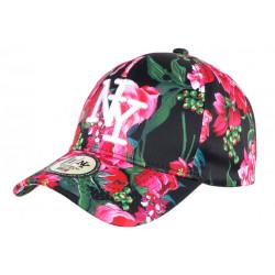 Casquette NY Noire et Rouge Fleurs Fashion Baseball Capri CASQUETTES Hip Hop Honour