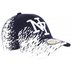 Casquette NY Bleu Marine Tags Blancs City Fashion Baseball Noryk CASQUETTES Hip Hop Honour