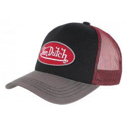 Casquette Von Dutch Rouge et Grise Visiere Baseball Colors Trucker CASQUETTES VON DUTCH