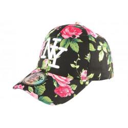 Casquette NY Noire et Rouge Florale Baseball Fashion Bora CASQUETTES Hip Hop Honour