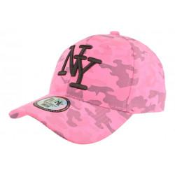 Casquette NY Militaire Rose Fluo et Noire Fashion Baseball Kaska CASQUETTES Hip Hop Honour
