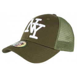 Casquette NY Enfant Verte Filet Trucker Baseball Fashion Gibz 7 a 12 ans Casquette Enfant Hip Hop Honour