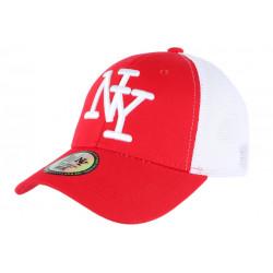 Casquette NY Rouge Filet Blanc Trucker Baseball Classe Gybz CASQUETTES Hip Hop Honour