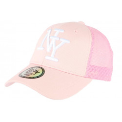 Casquette NY Rose Clair Filet Blanc Trucker Baseball Classe Gybz CASQUETTES Hip Hop Honour