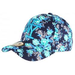 Casquette Enfant Bleue Petites Fleurs Turquoises NY Baseball Wess de 7 a 12 ans Casquette Enfant Hip Hop Honour