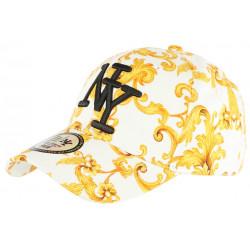 Casquette NY Blanche et Jaune Fashion Streetwear Classe Baseball Bolga CASQUETTES Hip Hop Honour